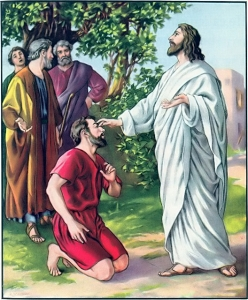 Jesus touching the eyes of a blind man