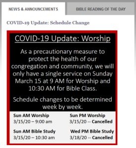 Screen shot about coronavirus from a church website